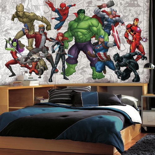 RoomMates 72 in. x 126 in. Marvel Hero XL Chair Rail 7-Panel Prepasted Mural