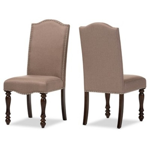 Zachary Chic French Vintage Oak Brown Beige Linen Fabric Upholstered Dining Chairs (Set of 2) - Baxton Studio