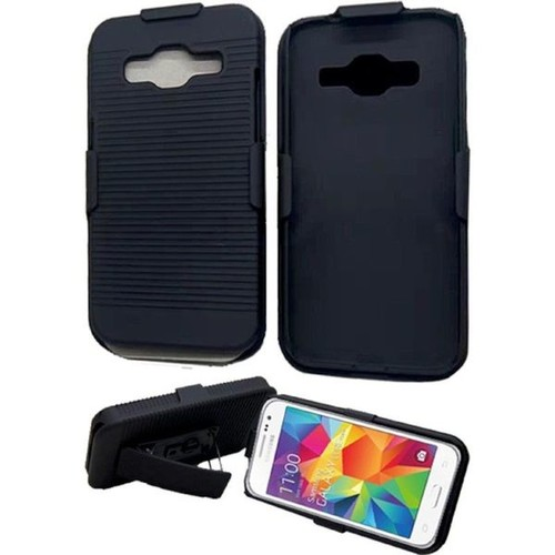 Insten Black Hard Snap-on Rubberized Matte Phone Case Cover with Holster For Samsung Galaxy Core Prime