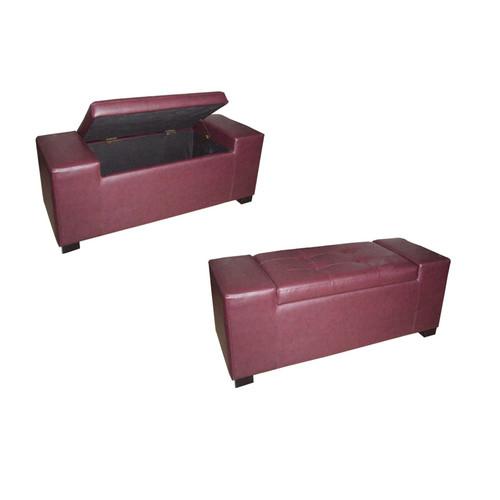 Unique Red Rectangular Storage Bench