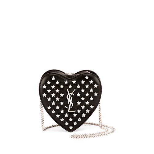 SAINT LAURENT Monogram Small Star Love Crossbody Bag, Black