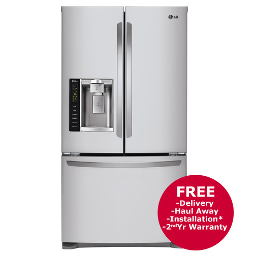 LG 24.1-Cu.-Ft. 3-Door French Door Refrigerator with Ice and Water Dispenser - Stainless Steel
