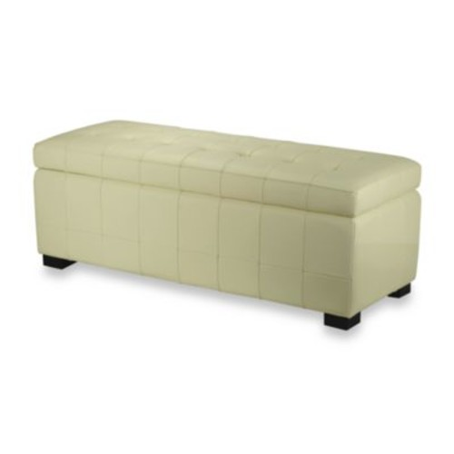 Safavieh Hudson Leather Large Manhattan Storage Bench in Off White