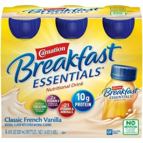Carnation Breakfast Essentials Classic French Vanilla Drink (6 pack bottles/8 oz.)