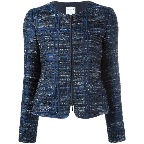 ARMANI COLLEZIONI Zip-Up Tweed Jacket