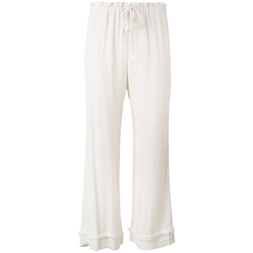 crepe drawstring waist cropped pants