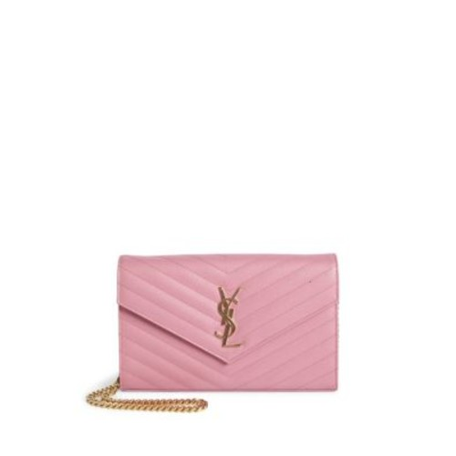 SAINT LAURENT Monogram Matelassé Leather Chain Wallet