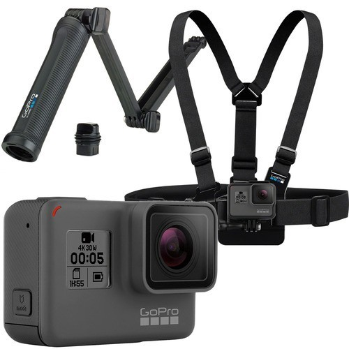 GoPro - Family Bundle - HERO5 Black 4K Action Camera with Chest Mount Harness and 3-Way Mount