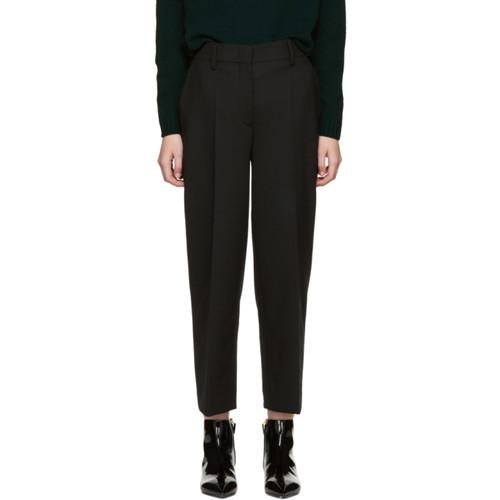 PRADA Black Cropped Wide-Leg Trousers