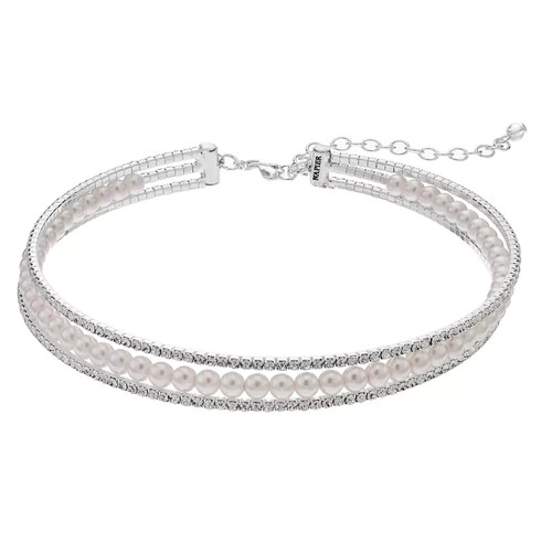 Napier Simulated Pearl Multi Strand Choker Necklace