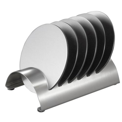 Visol Julian Stainless Steel Round Coaster Set with Holder