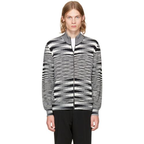 MISSONI Black & White Zip-Up Sweater