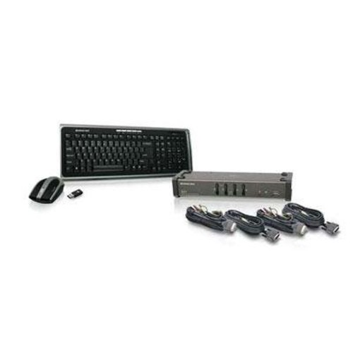 IOGEAR 4-Port DVI KVMP Switch with Cables and Wireless Media Center Keyboard and Mouse, GCS1104-KM1 [4-Port Kit]