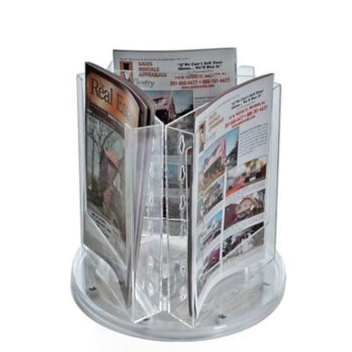 Azar Crystal Styrene Bi-fold Size Modular Brochure Holder on a Revolving Base, 3-Pocket (252318)