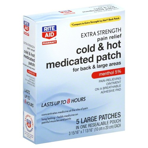 Rite Aid Pharmacy Medicated Patch, Cold & Hot, Extra Strength, Menthol 5%, Large, 5 patches