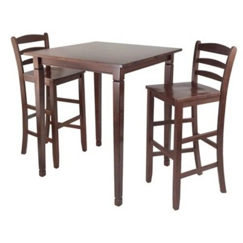 3 Piece Kingsgate Set High Table with Ladder Back Bar Stools Wood/Walnut - Winsome