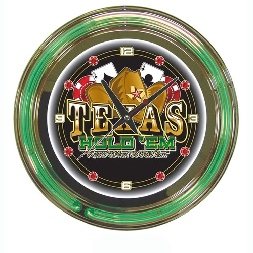 Trademark Global 14 in. Texas Hold 'em Neon Wall Clock