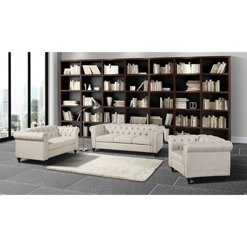 Thomas Chesterfield Linen Fabric Tufted Sofa, Loveseat, and Chair Set