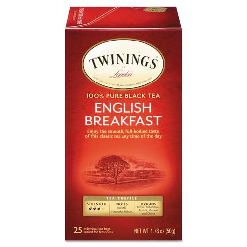 TWININGS Tea Bags, English Breakfast, 1.76 oz, 25/Box | PJP Marketplace