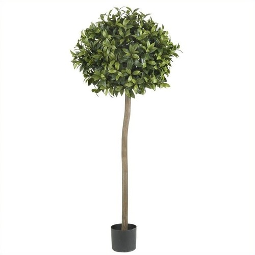 Nearly Natural 5' Sweet Bay Ball Topiary Silk Tree in Green