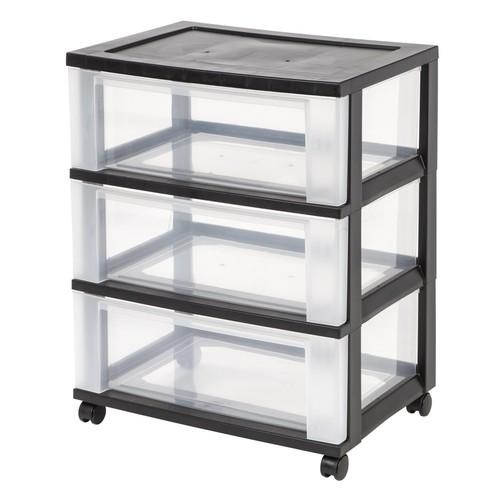 IRIS 3-Drawer Wide Cart, Black [Black, 3-Drawer]