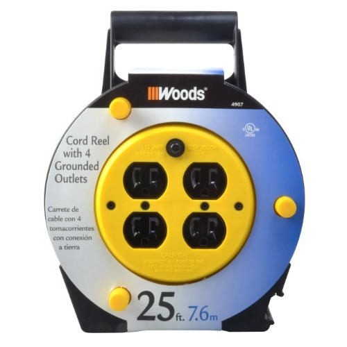 Woods 4907 Extension Cord Reel with 4-Outlets 16/3 SJTW and 12A Circuit Breaker, 25-Foot [12-Amp Breaker, Circuit Breaker]