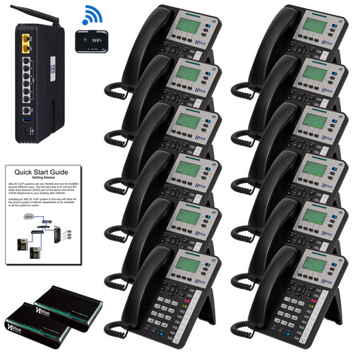 XBLUE X50XL VoIP Telephone System Bundle with 12 IP Phones and Wi-Fi Adapter