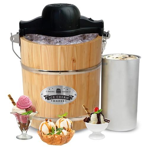 Elite Gourmet EIM-502 4 quart Old-Fashioned Ice Cream Maker with electric motor and hand crank, maple [4-Quart]
