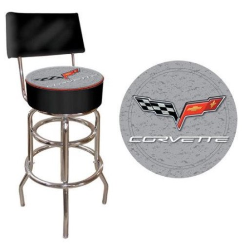 Trademark Global Corvette C6 Padded Bar Stool with Back
