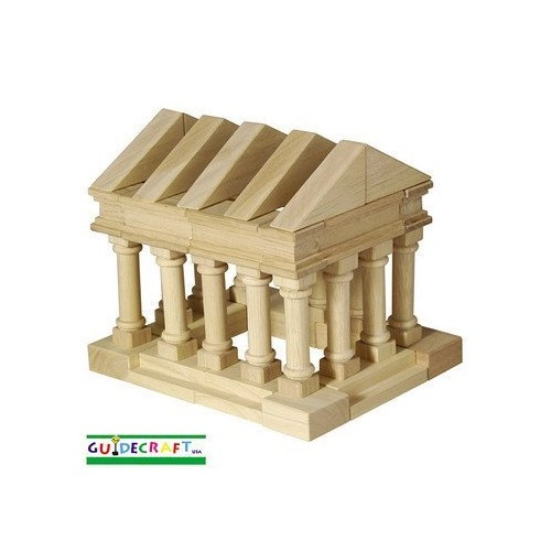 Guidecraft Tabletop Building Blocks - Greek Themed Columns and Blocks Set; Wooden Toy and Storage Bag For Toddler STEM Education [Multicolor, None]