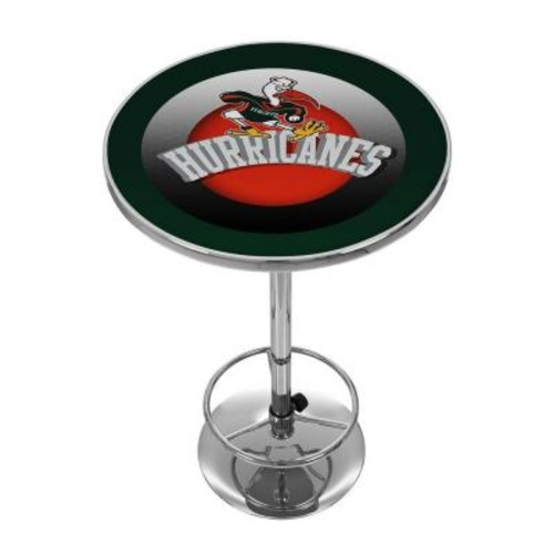 Trademark Global University of Miami Honeycomb Chrome Pub/Bar Table