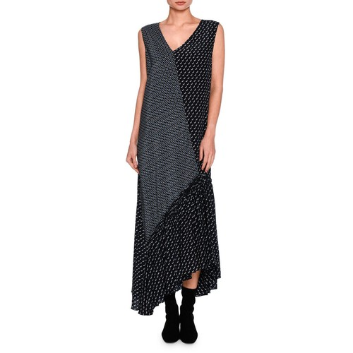 STELLA MCCARTNEY Dog-Print Patchwork Silk Maxi Dress, Navy