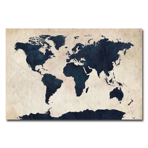 World Map - Navy by Michael Tompsett, 16x24-Inch Canvas Wall Art: Oil Paintings: Posters & Prints [16 by 24-Inch]