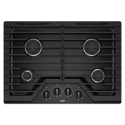 Whirlpool 30 in. Gas Cooktop in Black with 4 Burners and EZ-2-LIFT Hinged Cast-Iron Grates