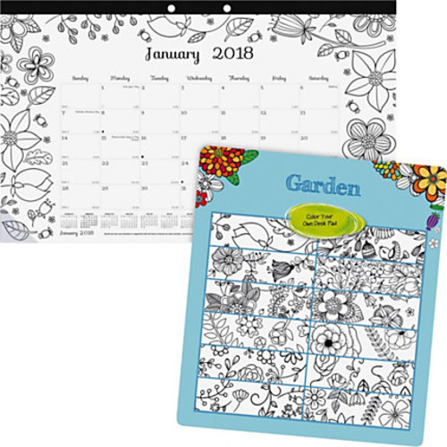 Blueline Garden Design Monthly Desk Pad - Monthly - January 2018 till December 2018 - 1 Month Single Page Layout - Desk Pad - White - Chipboard - Tear-off, Eyelet, Eco-friendly