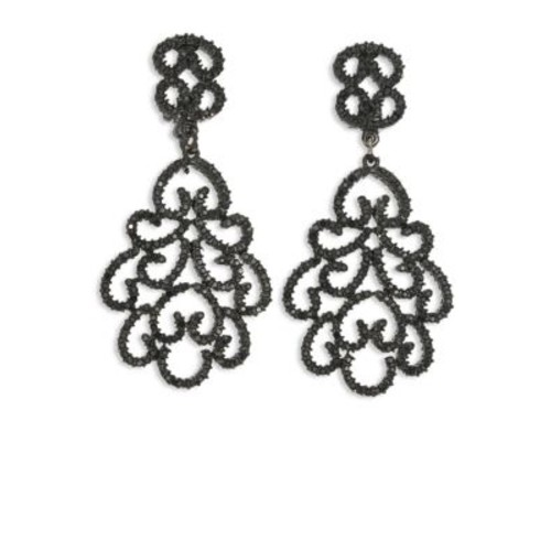 Jet Filigree Crystal Clip-On Earrings
