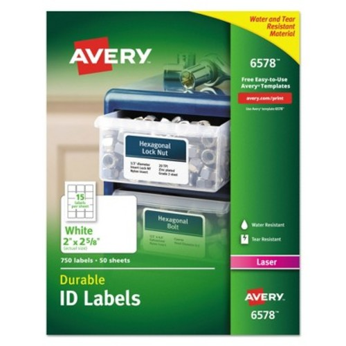 Avery 06578, Permanent ID Labels with TrueBlock Technology, Laser, 2 x 2 5/8, White, 750/Pack