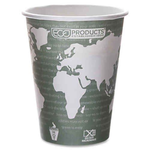 Eco-Products Renewable Resource Hot Drink Cups - 50 / Pack - 12 fl oz - 500 / Carton - Multi - Polylactic Acid (PLA), Resin, Paper, Biopolymer, Plastic - Hot Drink, Coffee, Tea