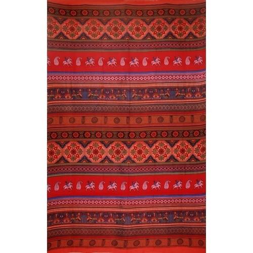Cotton Kalamkari Print Tapestry Wall Hanging Bedspread Coverlet Tablecloth Throw Beach Sheet Dorm Decor Queen Red