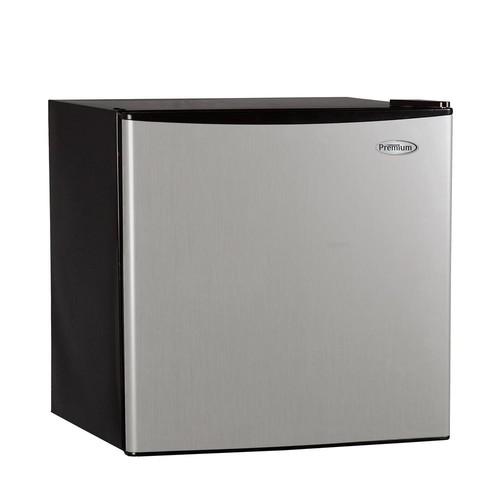 PREMIUM 1.6 cu. ft. Mini Refrigerator in Black with Stainless Steel Door