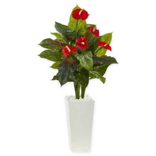 Nearly Natural Anthurium Artificial Plant with White Vase