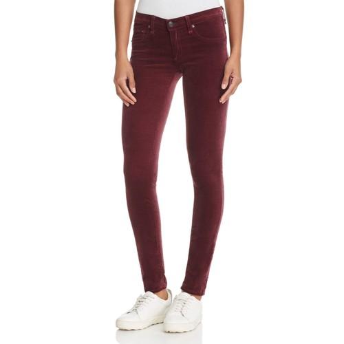 Skinny Jeans in Burgundy Velvet