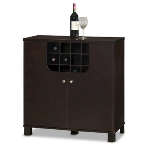 Murano Modern & Contemporary Dark Brown Wood Modern Dry Bar and Wine Cabinet - Baxton Studio