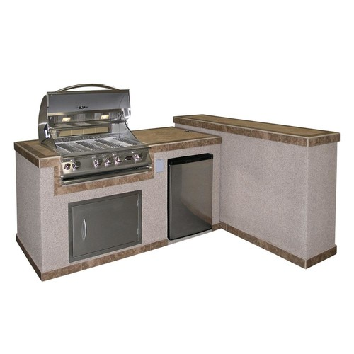 Cal Flame 2-Piece BBQ Island and Side Bar with 32 in. Propane Gas BBQ Grill
