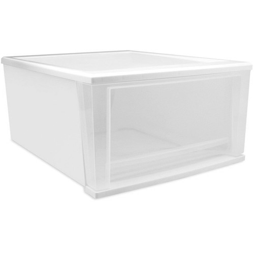 IRIS Stacking Drawer, Large, White/Clear [White, 32-Quart]