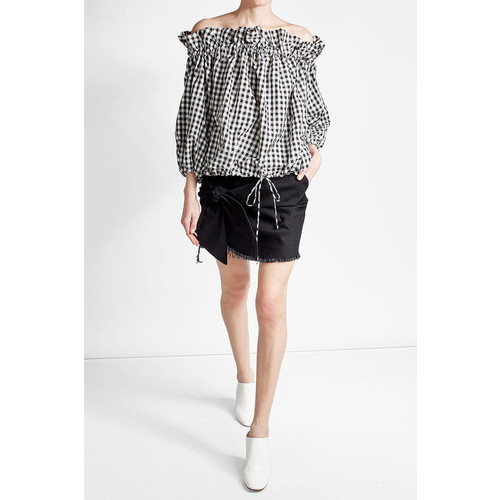 Frayed and Knotted Cotton Mini Skirt