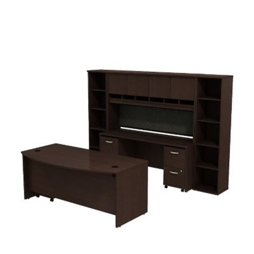 Bush Business Westfield 72W Bowfront Desk with 72W Credenza, Hutch & (2) Bookcases, Mocha Cherry
