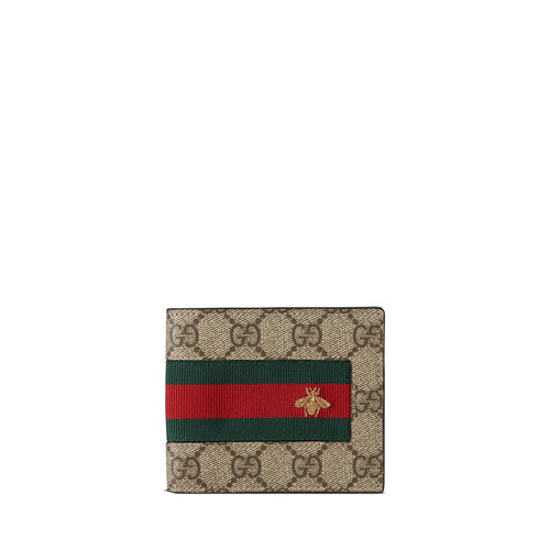 GUCCI Web Gg Supreme Bi-Fold Wallet With Bee, Beige