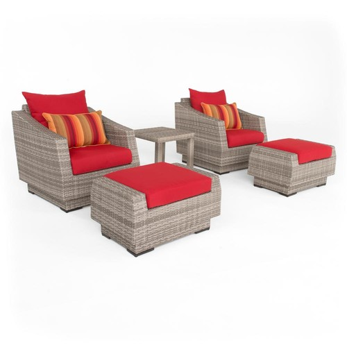RST Brands Cannes 5-Piece All-Weather Wicker Patio Club Chair and Ottoman Conversation Set with Sunset Red Cushions