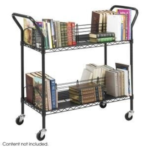 SAF5333BL Wire Book Cart, Double Sided, 44x18-3/4x40-1/4, Black [Black]